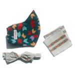 Evergreen mask, grey silk diamond point bow tie with stripes and matching pocket square