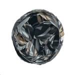 Black, tan, grey and white printed flower pin