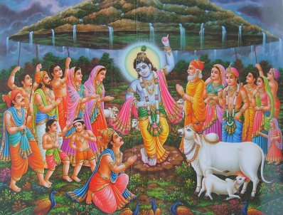 krishna-lifts-govardhana-hill