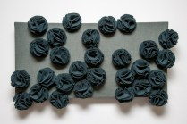 Amelia panel. Forest green wool rosettes on sage green linen. 24x12 inches on deep canvas. Was £600 now £250.