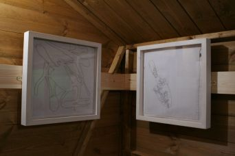 Tool Shed stitched artworks by Ruth Singer. Displayed in Snibston as part of What's in Your Shed? exhibition