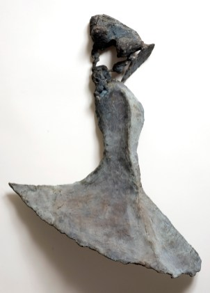 "88 OPEN DANCE - Bronze - Cast, assembled, wall hanging, patinated blue grey green - 21"" x 16"" x 4"""