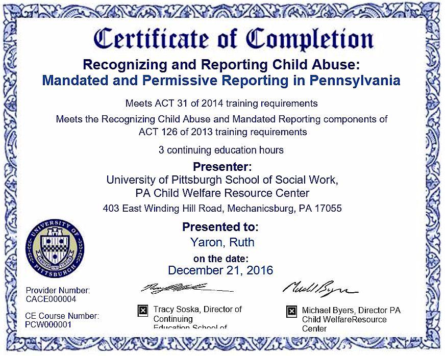 Mandated Reporter Certificate