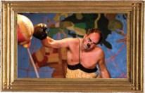 De Boxer met clown Baff Ruut van Hooft Straat- +theaterproducties