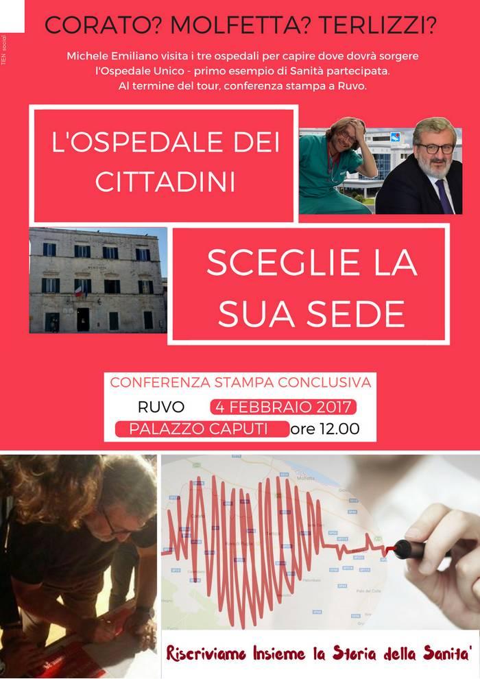 EMILIANO A RUVO PER SCEGLIERE L'OSPEDALE UNICO