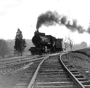 North bound Northern Central RR freight at Lake Roland Relay Station cut-off to Westminster, 1900