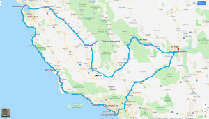 California Trip Route