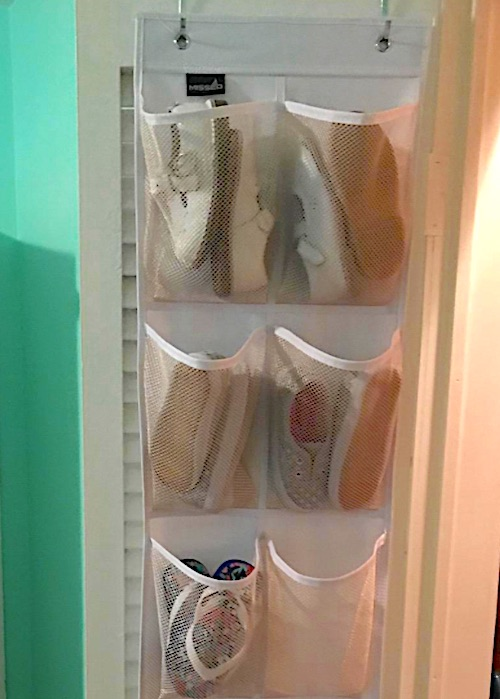 over the door shoe organizer with mesh pockets