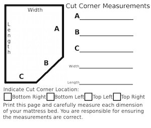 guide to measure cut corner RV mattress