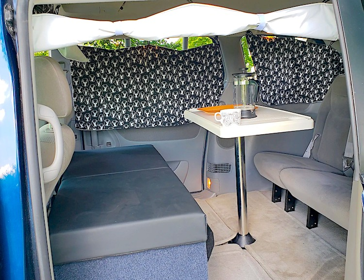 Camper van rental chicago-interior-dimnette-table-and-seating