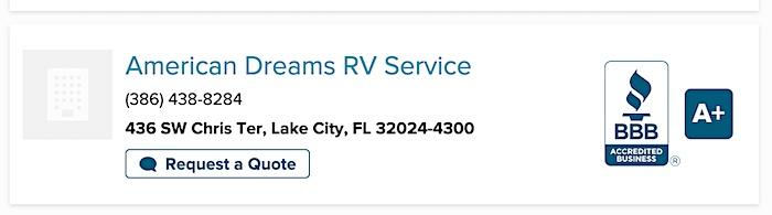 RV Repair Shop BBB Rating