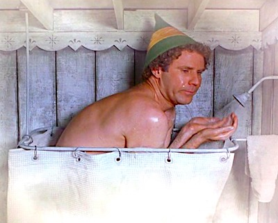 Buddy the elf in the shower