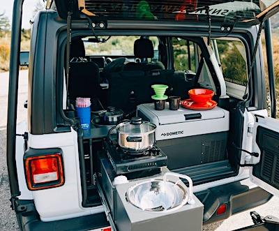 jeep escape camper interior kitchen view