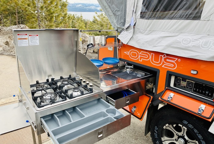 Opus 2 Sleeper Off-road popup camper slide out kitchen