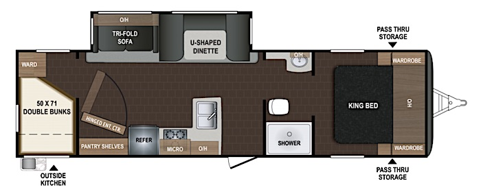 Travel Trailers with King Bed Dutchmen Atlas 2920BH Floor Plan
