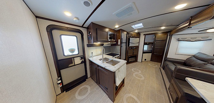 Travel Trailers with King Bed Dutchmen Atlas 2920BH Int