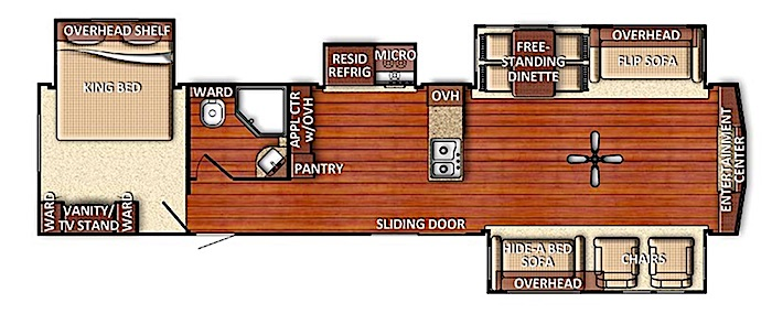 Travel Trailers with King Bed GULFSTREAM INNSBRUCK 406FLR Floor Plan