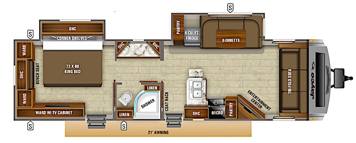 Travel Trailers with King Bed Jayco White Hawk 30 FLS Floor Plan