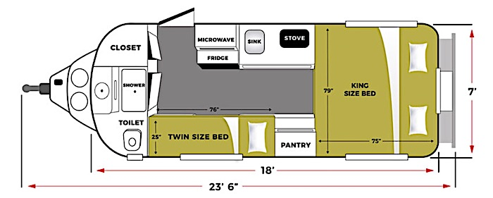 Travel Trailers with King Bed Oliver Legacy Elite II Floor Plan
