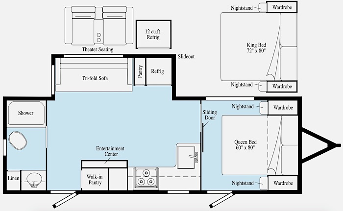 Travel Trailers with King Bed Winnebago Voyage Floor Plan