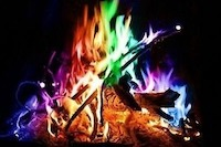 magical flames on a campfire