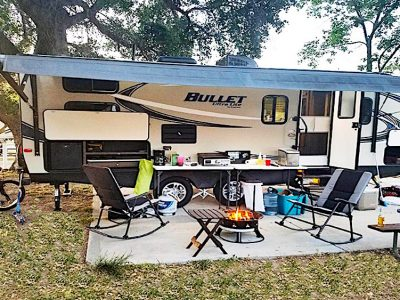 Travel Trailer with RV accessories and supplies