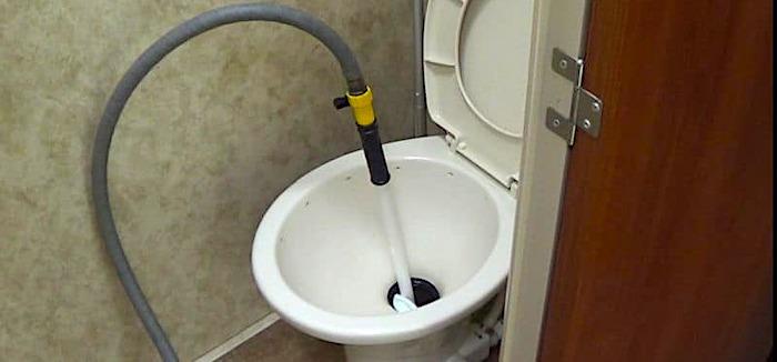 Black Tank Flushing Wand in RV Toilet