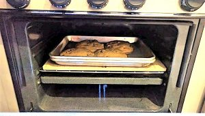 RV Oven with baking stone and chocolate chip cookies