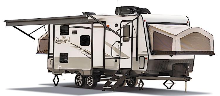 Flagstaff Shamrock 183 hybrid travel trailer under 4000 lbs ext