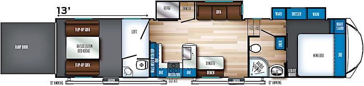 Forest River Rogue 371 5th wheel toy hauler floorplan