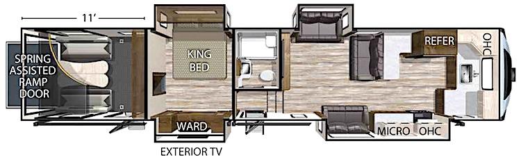 Forest River XLR Nitro 407 5th wheel toy hauler floor plan