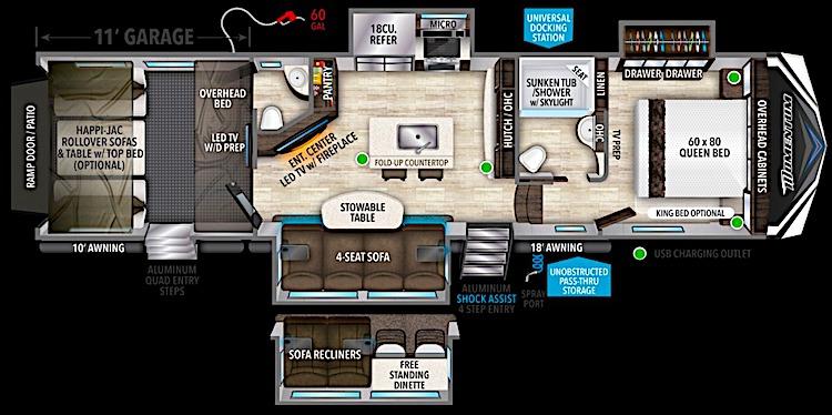 Grand Design Momentum 351 5th wheel toy hauler floor plan