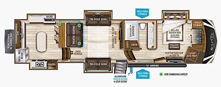 Grand Design Solitude 390RK Luxury 5th Wheel Floor Plan