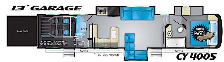 Heartland Cyclone 4005 fifth wheel toy hauler floor plan