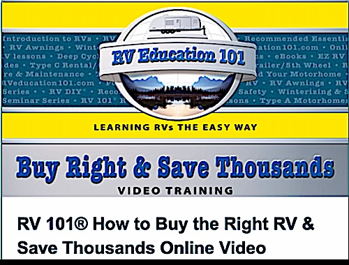 Logo for the video course called how to buy the right RV and save thousands