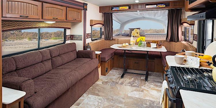 Interior of a modern luxurious hybrid travel trailer