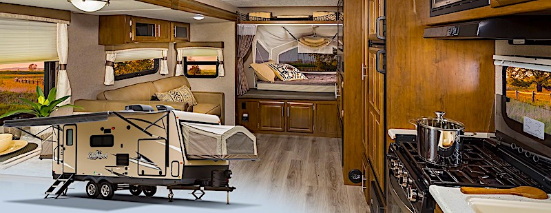 Hybrid travel trailer exterior and interior picture collage