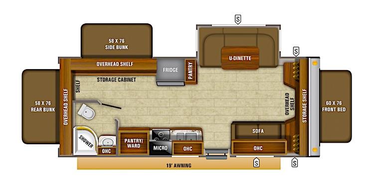 Hybrid travel trailer floor plan
