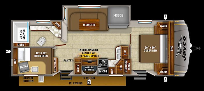 Jayco Eagle 264BHOK travel trailer with bunk beds floor plan