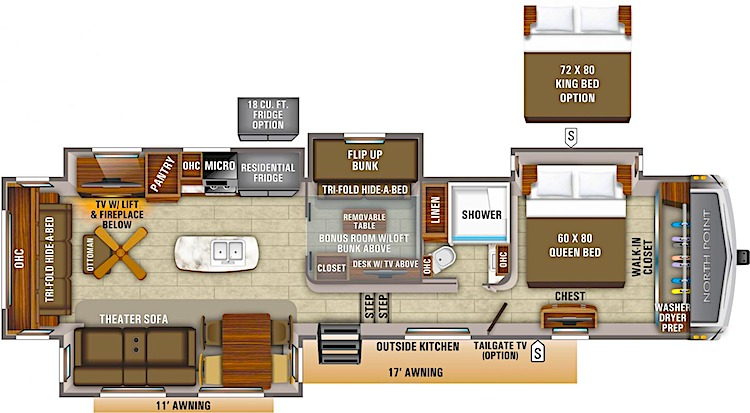 Jayco North Point 383FKWS floor plan luxury fifth wheel
