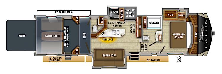 Jayco Talon 403T 5th wheel toy hauler floor plan
