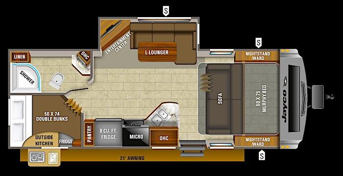 Jayco White Hawk 24MBH bunk beds floor plan