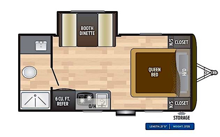 Keystone HIDEOUT 179LHS travel trailer under 5000 lbs with bathroom floor plan