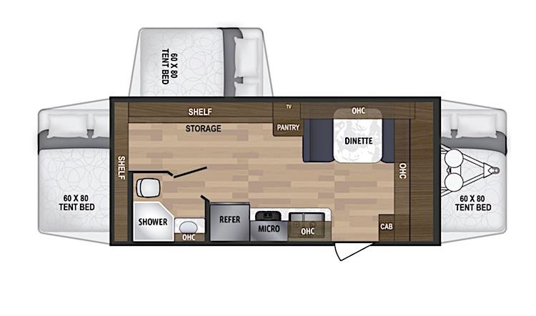 Kodiak Cub 179E hybrid travel trailer floor plan