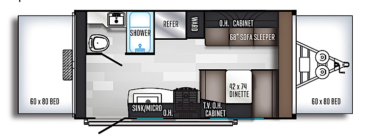 Palomino Solaire Expandable 163X hybrid travel trailer under 4000 lbs floor plan