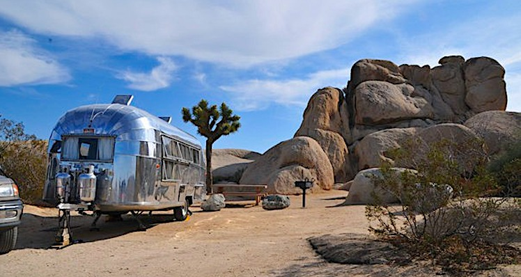 RV campsite at indain cove campground in Joshua tree
