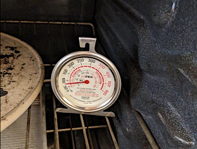 RV Oven with a thermometer inside