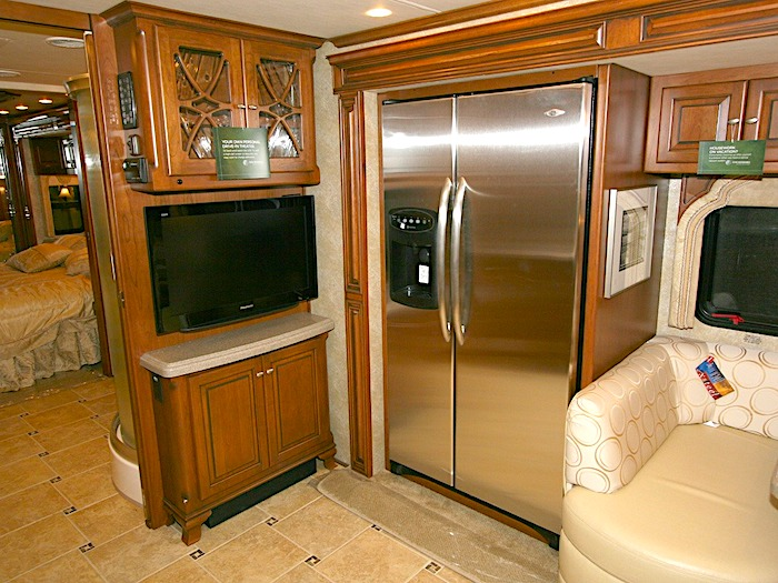 side by side residential refrigerator with an ice maker in an RV