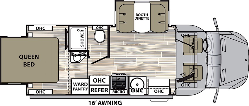 Class C RV Floor Plan Under 30 Feet