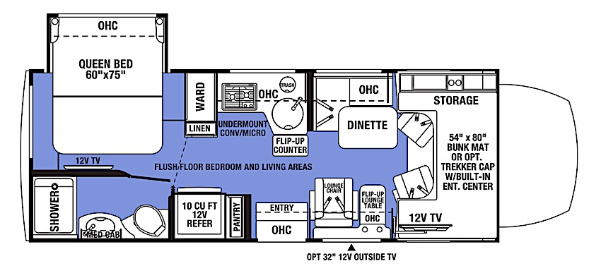 Forest River Sunseeker MBS Floor Plan under 30 feet